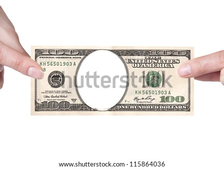 Artistic dollar bill with woman hand isolated on a white background