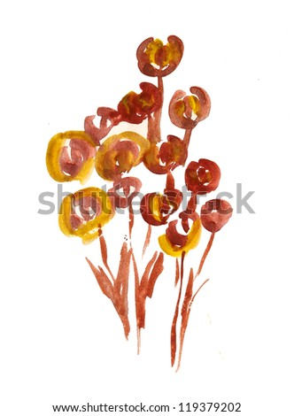 Artistic flowers painted in watercolor  isolated on white - stock photo