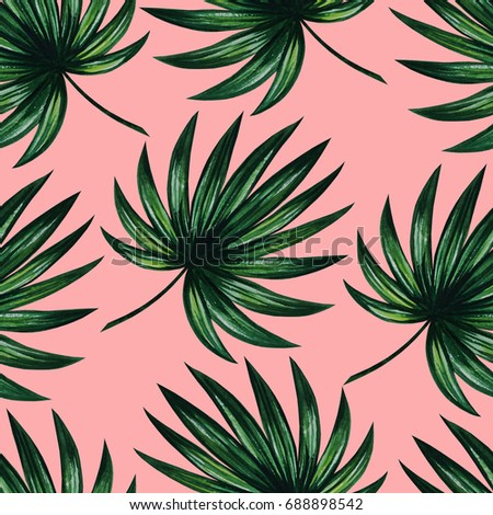 Artistic Glamorous Watercolor Pattern With Green Palm Tree Leaves On Pink Background Seamless Floral Jungle