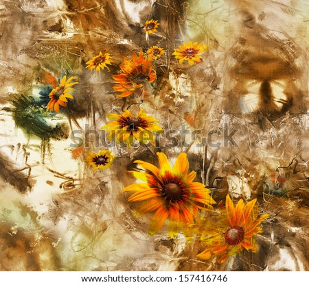 Artistic grunge background with flowers, oil painting and mixed media - stock photo
