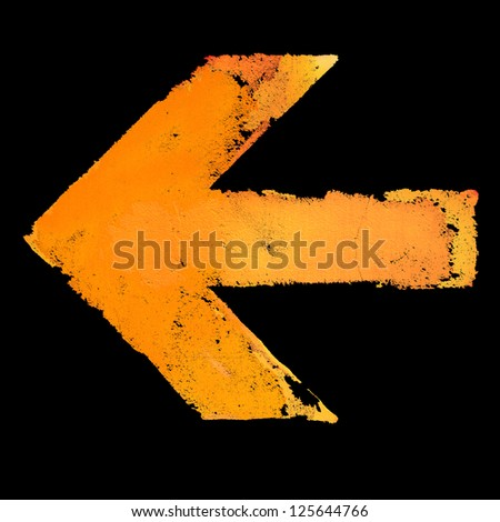 Artistic grunge design left arrow sign isolated on black - stock photo