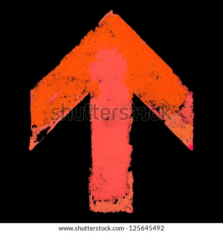 Artistic grunge design up arrow sign isolated on black - stock photo