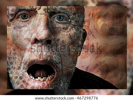 Artistic Horror Portrait of a Screaming Man