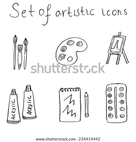 Artistic icons set illustration. Set of brushes, acrylic paint, easel, watercolor, palette, notebook and pencil in sketch style.