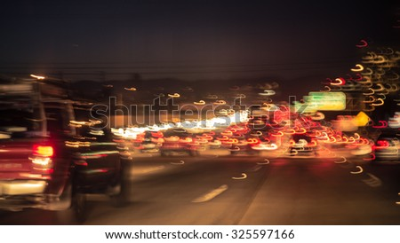 artistic image of the traffic jam on Los angeles freeway. concept about transportation and traffic jam - stock photo