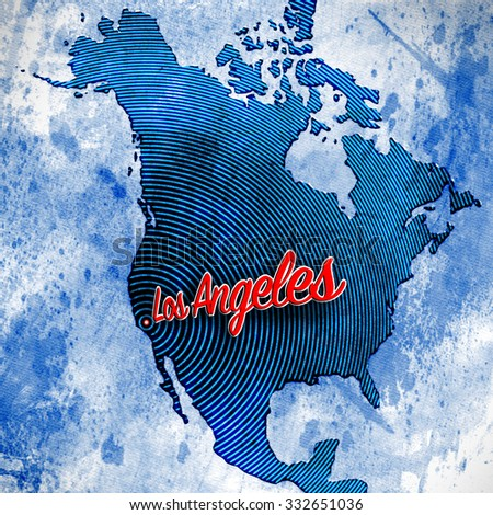 Artistic Map of North America highlighting the City of Los Angeles rendered with a combination of styles