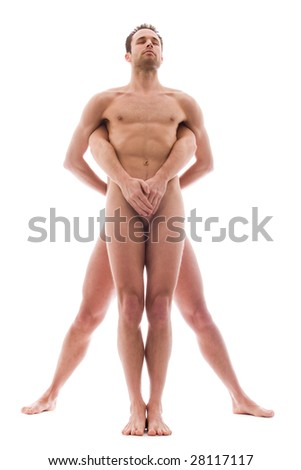 Artistic nude forms with 2 powerfull men - stock photo