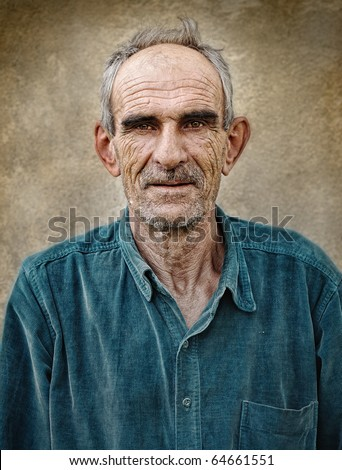 Artistic old photo of elderly bald man, grunge vintage background - stock photo