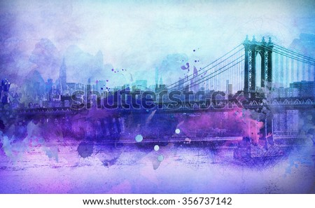 Artistic Painterly View in Shades of Purple and Blue of Famous Manhattan Bridge Spanning Across East River with City Skyline in Background, New York City, New York, USA - stock photo
