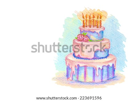 Artistic pastel hand-drawn birthday cake with cream and candles,isolated on the white background