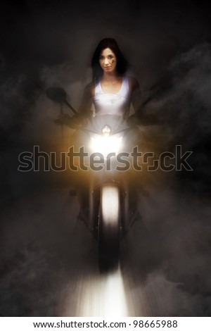 Artistic Photo Of A Person Riding A Motorcycle On A Dark Foggy Road At Speed With Headlights On High Beam In A Highway Race Conceptual