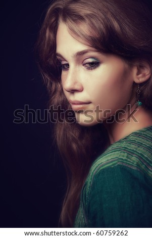 Artistic portrait of sensual beautiful young woman - stock photo
