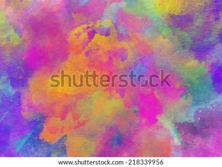 Artistic Rainbow Colors Splash Watercolor Background - stock photo