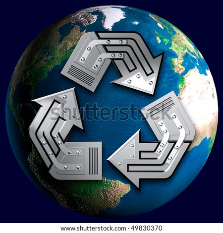 Artistic recycling symbol over Earth globe Conceptual 3D illustration Environment and ecology concept