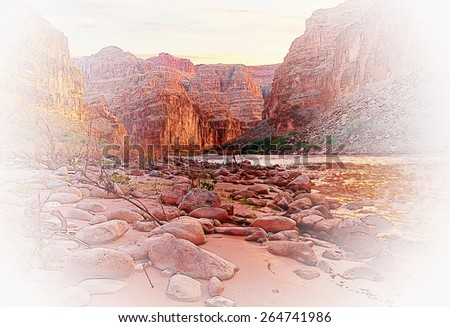 Artistic rendition of the Grand Canyon as view from the Colorado River. - stock photo