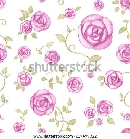 Artistic seamless pattern with watercolor flowers - stock photo