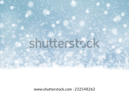 Artistic soft blue abstract snowflake illustration background. - stock photo