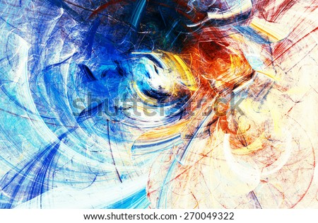 Artistic splashes of bright paints. Abstract bright color pattern. Modern light futuristic background for wallpaper, interior, flyer cover, banner, poster. Fractal artwork for creative graphic design. - stock photo