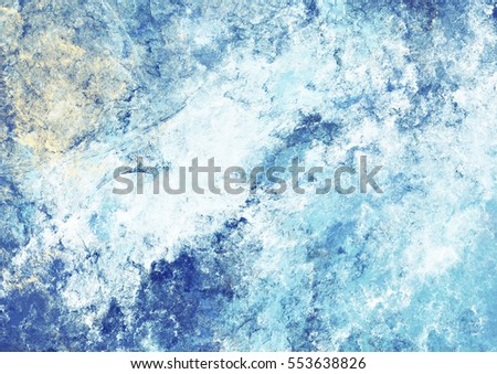 Artistic splashes of bright paints. Abstract cold painting pattern. Soft texture for creative graphic design. Futuristic blue clouds. Background for poster, cover booklet, flyer, banner. Fractal art