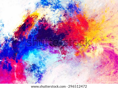 Artistic splashes of bright paints. Abstract color pattern. Futuristic summer background for wallpaper, interior, album, flyer cover, poster, booklet. Fractal artwork for creative graphic design. - stock photo