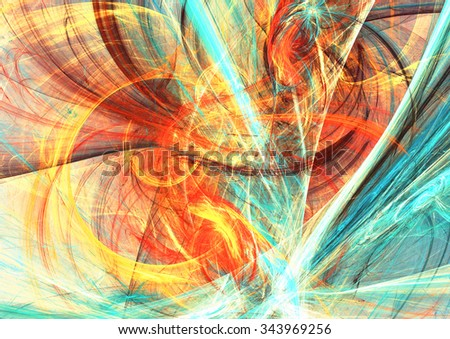 Artistic splashes of bright paints. Abstract summer color background with lighting effect for creative design. Modern multicolor  futuristic dynamic pattern. Fractal artwork - stock photo