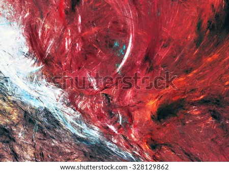 Artistic texture of bright color paints. Abstract red background for creative graphic design. Modern futuristic colorful pattern for wallpaper, album, flyer cover, poster. Fractal artwork - stock photo