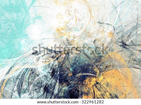Artistic texture of paints. Abstract beautiful blue and yellow background. Modern futuristic pattern. Fractal artwork for creative graphic design - stock photo