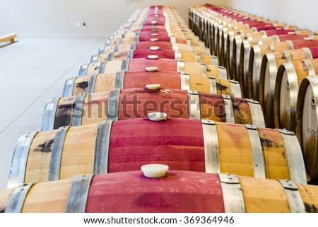 Artistic View of Wine Barrel Cellar - stock photo
