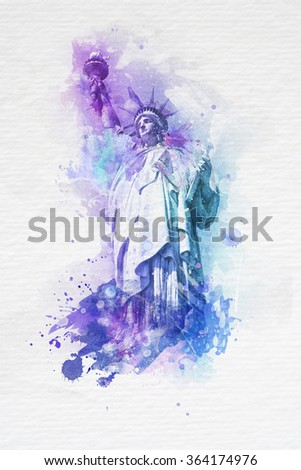 Artistic watercolor paint effect of the Statue of Liberty in purple and blue with splashes of paint on a textured off white background - stock photo