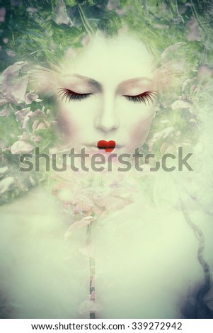 artistic woman portrait, composite photo - stock photo