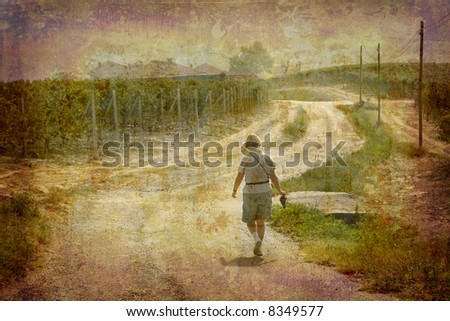 Artistic work of my own in retro style - Postcard from Italy. - Tourist walking through a vineyard - Piedmont.
