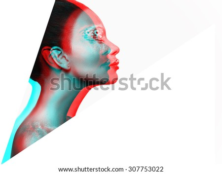 artistically crafted, isolated Photo of a beautiful young girl with dark skin, makeup and bare shoulders on a white background - stock photo