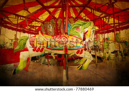 Artistically textured carousel  from Coney Island amusement park - stock photo