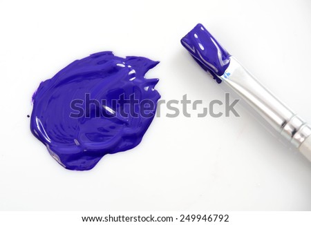 artists paint brush and paint on white background - stock photo
