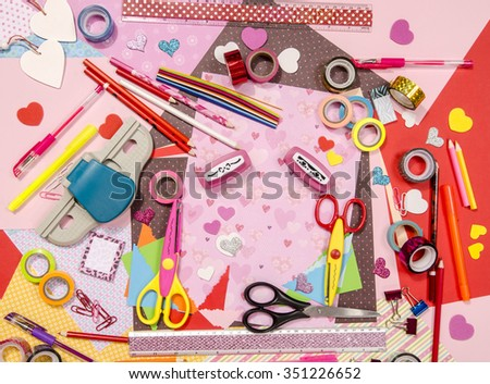 Arts Craft Supplies Saint Valentines Color Stock Photo 360454586 ...
