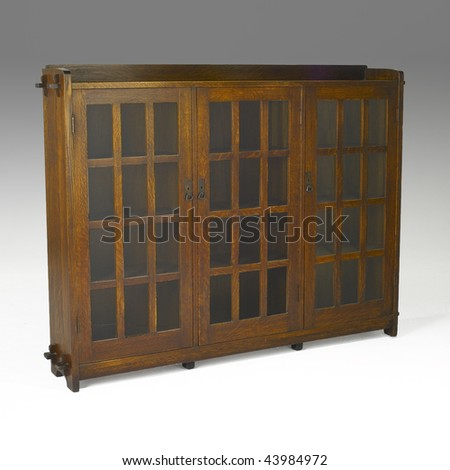 arts and crafts glass door bookcase - stock photo
