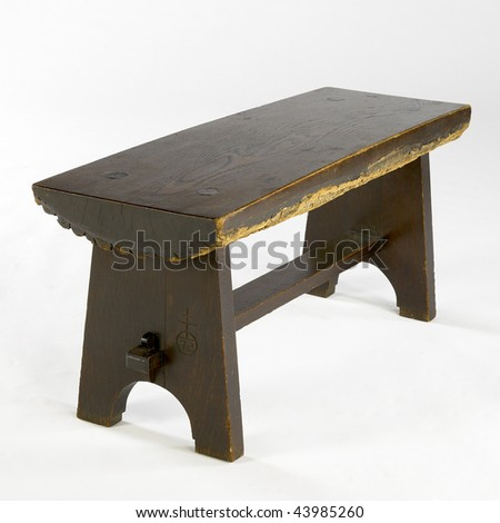 arts and crafts oak bench - stock photo