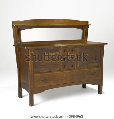 arts and crafts oak dresser with mirror - stock photo