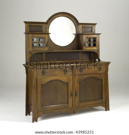arts and crafts oak sideboard with mirror
