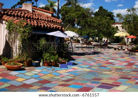 Arts and crafts shops; Balboa Park; San Diego, California. - stock photo