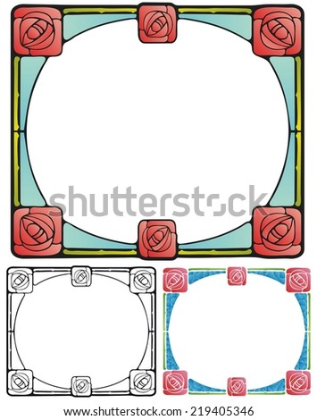 Arts and Crafts style border with square roses - stock photo