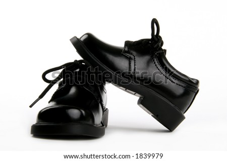 artsy view of boy's dress shoes - stock photo