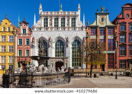 Artus Court with Neptune Fountain in Gdansk, Poland. - stock photo