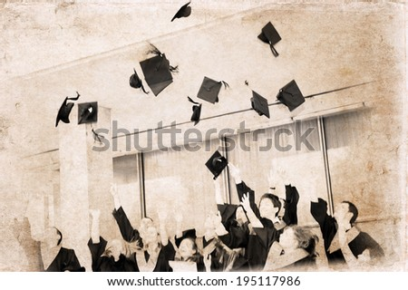 Artwork in vintage style, graduation - stock photo