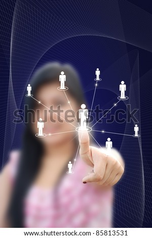 artwork of business woman with social network idea.