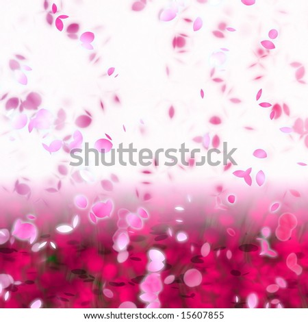 artwork of cherry blossom petals swirling in the breeze - stock photo