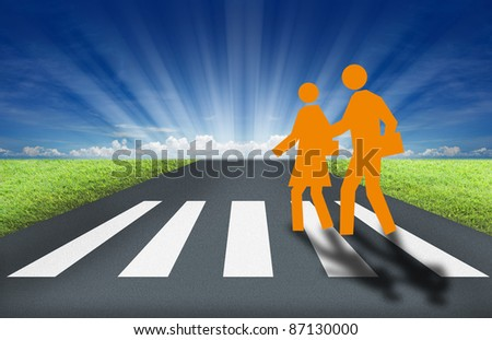 artwork of cross road with nice nature background. - stock photo