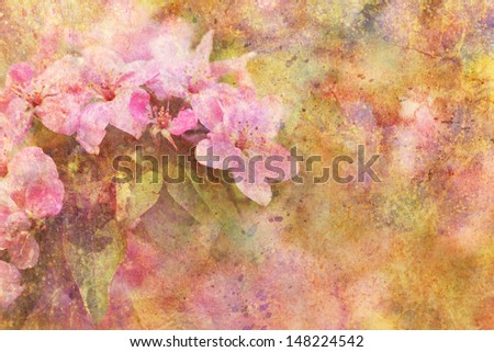 artwork with beautiful pink flowers and watercolor splatter - stock photo