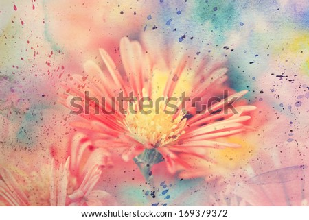 artwork with cute red aster's flower and watercolor splashes - stock photo