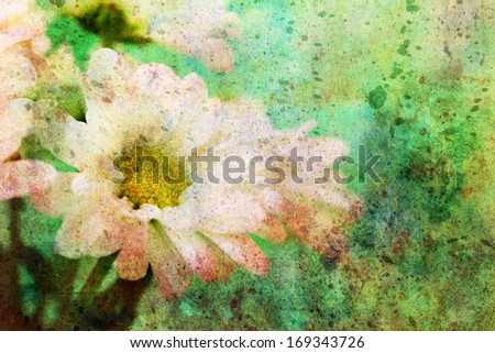 artwork with lovely chamomile and green watercolor splatter - stock photo